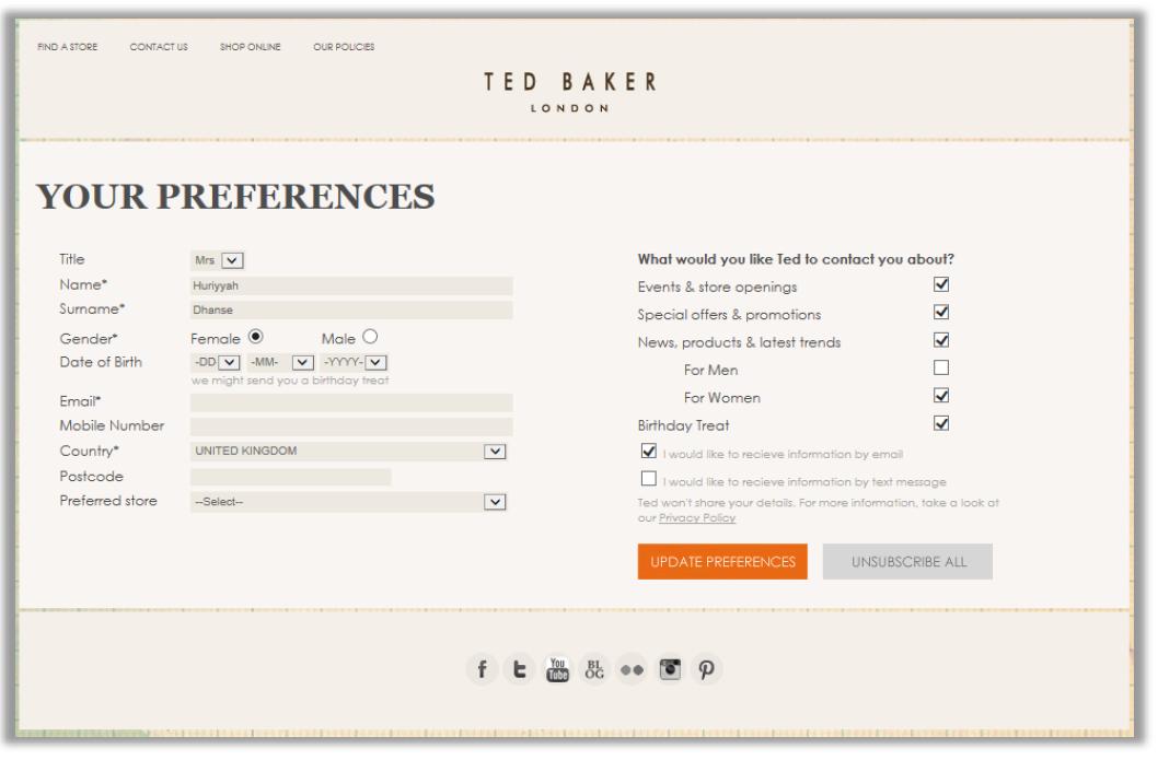ukazka preferencniho centra na webu tvoreneho formulari ze silverpop engage