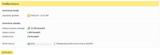 Ukázka výsledku výpočtu predikce bounce rate plánované rozesílky