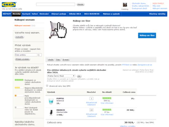 Nákupní seznam IKEA