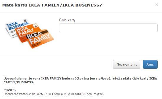 Okno pro zadání čísla klubové karty IKEA Family.
