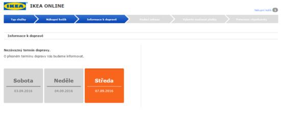 Výběr termínu doručení v e-shopu IKEA