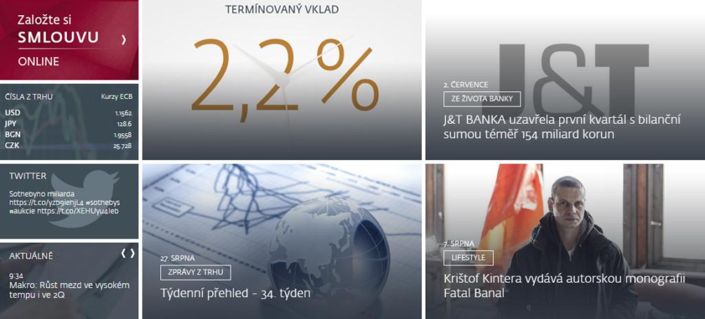 Ukázka původního rozložení stránky J&T Banky.