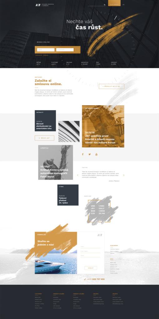 Kopletní ukázka redesignu hlavní strany webu J&T Banky.