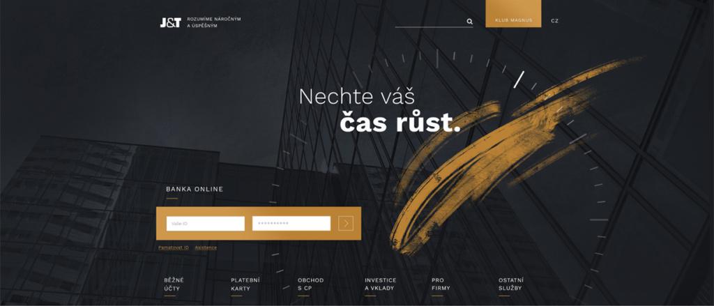 Ukázka našeho návrhu redesignu webu J&T Banky.